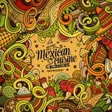 Μεξικάνικο σχέδιο πλαισίων τροφίμων κινούμενων σχεδίων doodles Στοκ Εικόνες