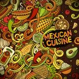 Μεξικάνικο σχέδιο πλαισίων τροφίμων κινούμενων σχεδίων doodles Στοκ Φωτογραφίες