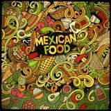 Μεξικάνικο σχέδιο πλαισίων τροφίμων κινούμενων σχεδίων doodles Στοκ εικόνα με δικαίωμα ελεύθερης χρήσης