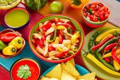 Μεξικάνικο τσίλι του Gallo pico guacamole fajitas κοτόπουλου Στοκ φωτογραφίες με δικαίωμα ελεύθερης χρήσης
