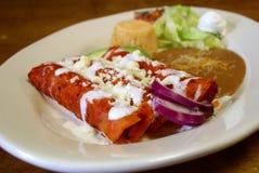 Μεξικάνικο τυρί Enchiladas Στοκ Εικόνες