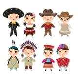 Μεξικανοαμερικάά αγόρι και κορίτσι κάουμποϋ Ινδών περουβιανά στο εθνικά κοστούμι και το καπέλο Παιδιά κινούμενων σχεδίων φόρεμα π απεικόνιση αποθεμάτων
