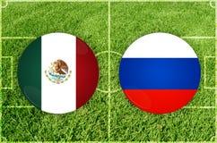 Μεξικό εναντίον του αγώνα ποδοσφαίρου της Ρωσίας Στοκ Φωτογραφία