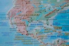Μεξικό στενό σε επάνω στο χάρτη Εστίαση στο όνομα της χώρας Vignetting επίδραση απεικόνιση αποθεμάτων