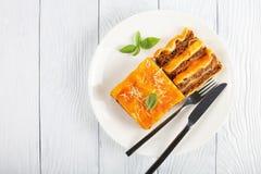 Μερίδα του νόστιμου lasagna στο πιάτο στοκ εικόνα