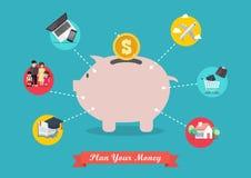 Μερίδα χρημάτων αποταμίευσης τραπεζών Piggy για τη ζωή απεικόνιση αποθεμάτων