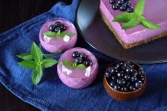 Μερίδες mousse μούρων του επιδορπίου και του κέικ στοκ εικόνα