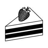 Μερίδα κέικ με τη φράουλα ελεύθερη απεικόνιση δικαιώματος