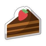Μερίδα κέικ με τη φράουλα διανυσματική απεικόνιση