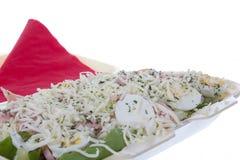 Μερίδα με το τυρί και το ζαμπόν αυγών Στοκ Εικόνες