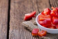 Μερίδα των κόκκινων πιπεριών (που τεμαχίζονται) Στοκ φωτογραφία με δικαίωμα ελεύθερης χρήσης