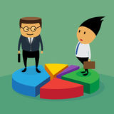Μερίδιο αγοράς με την επιχειρησιακή έννοια. διανυσματική απεικόνιση