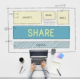 Μερίδιο σχεδιαγράμματος σχεδίου Ιστού που μοιράζεται την έννοια Στοκ φωτογραφία με δικαίωμα ελεύθερης χρήσης
