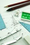 Μερικά εργαλεία σχεδίων Στοκ Φωτογραφίες