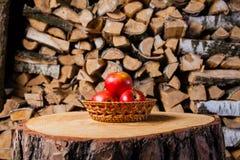 Μερικά μήλα στο κολόβωμα στο υπόβαθρο του καυσόξυλου σημύδων Στοκ Φωτογραφία