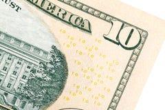 Μερικά στοιχεία στο U S δολάριο 10 λογαριασμών Στοκ Φωτογραφίες