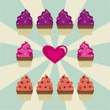 Μερικά cupcakes και μια καρδιά σε ένα άσπρο και μπλε υπόβαθρο διανυσματική απεικόνιση
