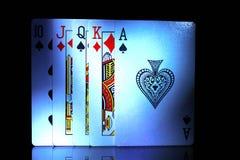 Μερικές από τις κάρτες παιχνιδιού, από δέκα στον άσσο Στοκ Φωτογραφίες