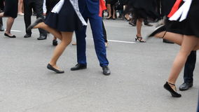 Μερικές μετακινήσεις πολλών ζευγαριών χορού, σε αργή κίνηση απόθεμα βίντεο
