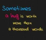 Μερικές φορές ένα αγκάλιασμα είναι κάτι Στοκ Εικόνες