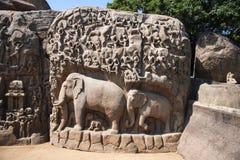 Μερική άποψη της καθόδου της τιμωρίας του Γάγκη ή Arjuna ` s, Mahabalipuram, Tamil Nadu, Ινδία Στοκ φωτογραφίες με δικαίωμα ελεύθερης χρήσης