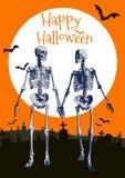Μερική απεικόνιση εραστών σκελετών στο πορτοκαλί BG Στοκ Εικόνες