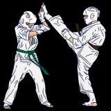 Μερικό karate ή taekwondo Πάλη στη διανυσματική δράση Λάκτισμα από την τρισδιάστατη τέχνη στοκ εικόνες με δικαίωμα ελεύθερης χρήσης