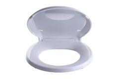 Μερικώς ανοιγμένα απομονωμένα κάθισμα και καπάκι τουαλετών στοκ εικόνες