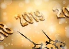 Μεσάνυχτα 2019 καλής χρονιάς ελεύθερη απεικόνιση δικαιώματος