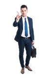 Μεσίτης ή δικηγόρος που λέει το αριθ. με το δάχτυλο Στοκ φωτογραφία με δικαίωμα ελεύθερης χρήσης