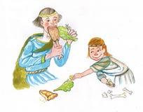 Μεσαιωνικά άτομο και παιδί που τρώνε την απεικόνιση watercolor Στοκ εικόνα με δικαίωμα ελεύθερης χρήσης