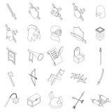 Μεσαιωνικά εικονίδια ιπποτών καθορισμένα, isometric τρισδιάστατο ύφος Στοκ εικόνα με δικαίωμα ελεύθερης χρήσης