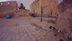 Μεσαιωνικές κτήρια και εκκλησίες που χτίζονται των αρχαίων υλικών της πόλης των σαλαμιών στο κέντρο Famagusta φιλμ μικρού μήκους