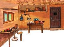 Μεσαιωνική αγγειοπλαστική - δώστε τη συρμένη έγχρωμη εικονογράφηση, μέρος του μεσαιωνικού συνόλου σειράς Στοκ φωτογραφία με δικαίωμα ελεύθερης χρήσης