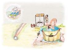 Μεσαιωνική απεικόνιση watercolor λουσίματος ατόμων και παιδιών Στοκ Φωτογραφία