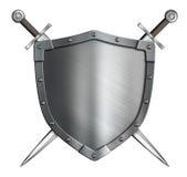 Μεσαιωνική ασπίδα ιπποτών καλύψεων των όπλων και διασχισμένος Στοκ Φωτογραφία