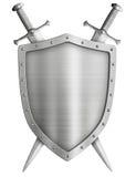 Μεσαιωνική ασπίδα ιπποτών καλύψεων των όπλων και διασχισμένος Στοκ φωτογραφίες με δικαίωμα ελεύθερης χρήσης
