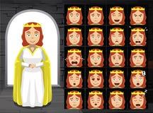 Μεσαιωνική βασίλισσα Cartoon Emotion Faces Vector απεικόνιση ελεύθερη απεικόνιση δικαιώματος