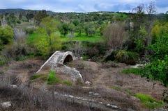 Μεσαιωνική γέφυρα στην ανθίζοντας Κύπρο στοκ εικόνα με δικαίωμα ελεύθερης χρήσης