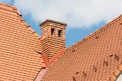 Μεσαιωνική καπνοδόχος τούβλου σπιτιών Στοκ Φωτογραφίες