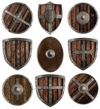 Μεσαιωνική ξύλινη συλλογή ασπίδων που απομονώνεται Στοκ φωτογραφίες με δικαίωμα ελεύθερης χρήσης