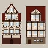 Μεσαιωνική οδός με τα σπίτια ttwo Στοκ Εικόνα
