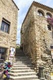 Μεσαιωνική οδός στην Καταλωνία Στοκ Εικόνα