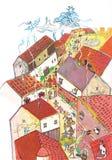 Μεσαιωνική πόλη που βλέπει από την ανωτέρω συρμένη χέρι έγχρωμη εικονογράφηση, μέρος του μεσαιωνικού συνόλου σειράς Στοκ φωτογραφία με δικαίωμα ελεύθερης χρήσης