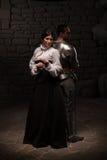 Μεσαιωνική τοποθέτηση ιπποτών και κυρίας Στοκ εικόνα με δικαίωμα ελεύθερης χρήσης