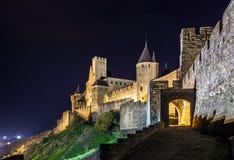 Μεσαιωνική όψη νύχτας κάστρων του Carcassone. Στοκ Φωτογραφίες