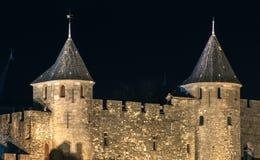 Μεσαιωνική όψη νύχτας κάστρων του Carcassone. Στοκ εικόνα με δικαίωμα ελεύθερης χρήσης