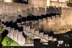 Μεσαιωνική όψη νύχτας κάστρων του Carcassone. Στοκ Εικόνα