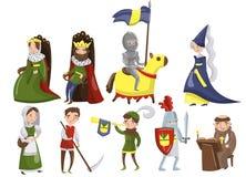 Μεσαιωνικοί άνθρωποι καθορισμένοι, χαρακτήρες διανυσματικών απεικονίσεων περιόδου Μεσαιώνων των ιστορικών διανυσματική απεικόνιση