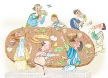 Μεσαιωνικοί άνθρωποι που τρώνε την απεικόνιση watercolor Στοκ εικόνα με δικαίωμα ελεύθερης χρήσης